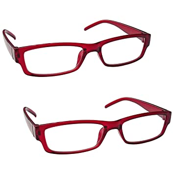 95dfe61a585 The Reading Glasses Company Red Lightweight Comfortable Readers Value 2 Pack  Mens Womens RR32-Z