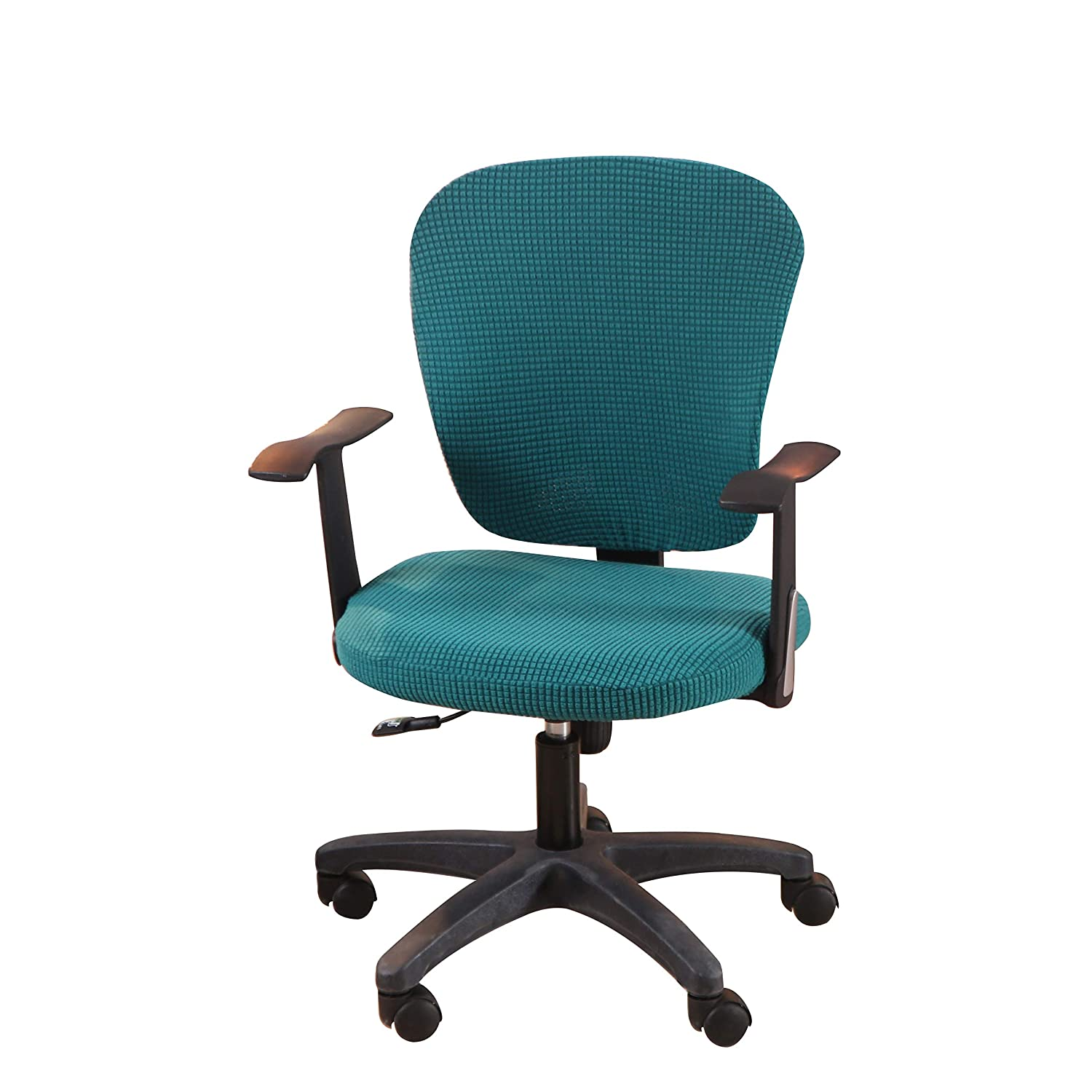 Jinzio Office Chair Cover - Split Protective & Stretchable Solid Corn Velour Universal Computer Desk Task Chair Chair Covers Stretch Rotating Chair Slipcover, Peacock Green