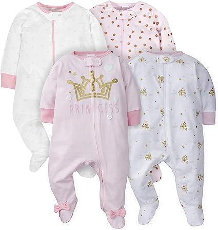 Gerber Baby Girls' 4 Pack Sleep N' Play Footie