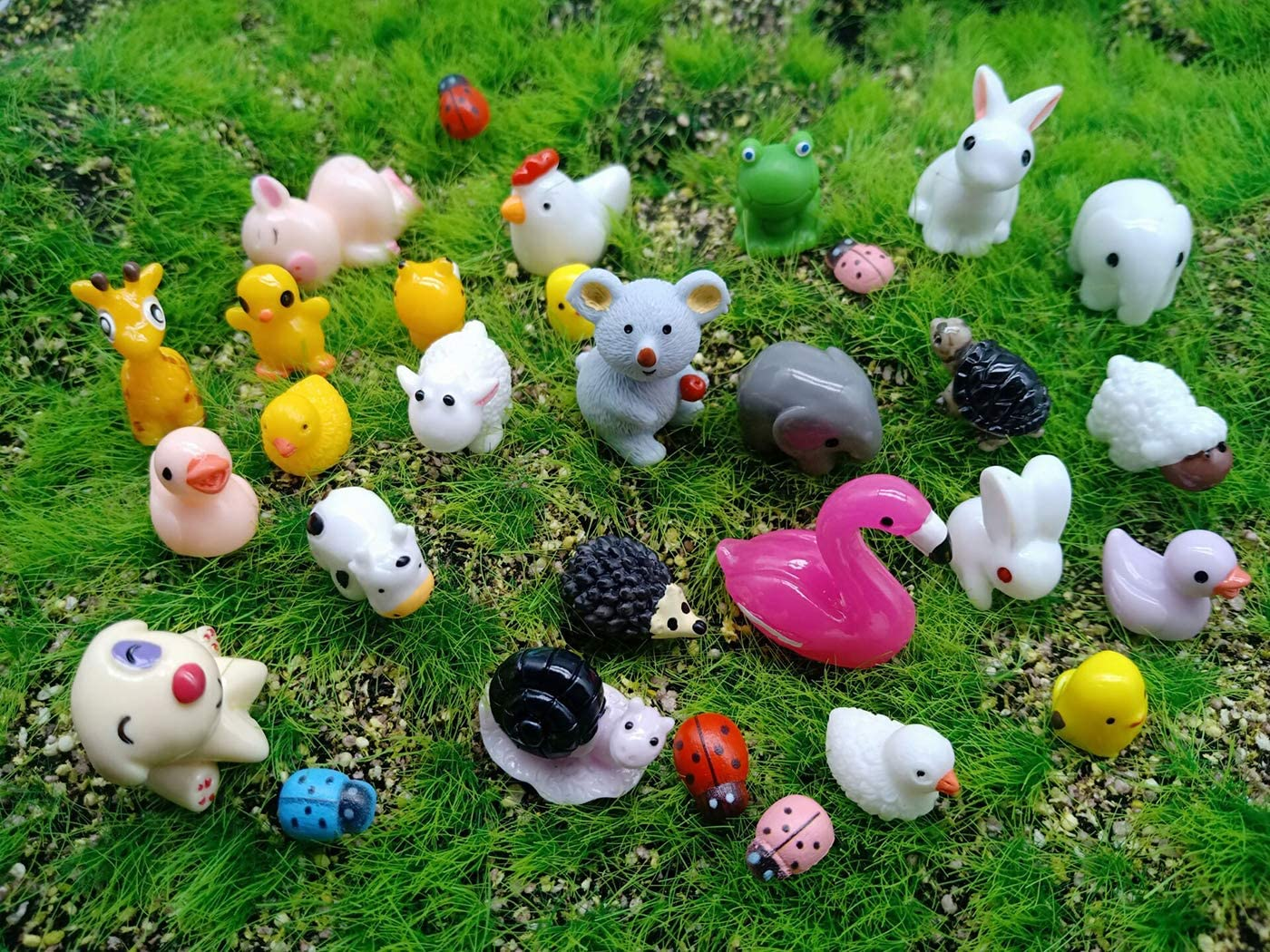 Kbraveo 45Pcs Mini Animals Miniature Ornament Kits Set for DIY,Fairy Garden Dollhouse Décor(Elephants,rabbits,hedgehogs,hens,bunnies,cubs,chicks,bees,cows,frogs,snails,turtles,puppies,pigs,sheep deer,