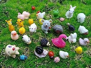 Kbraveo 45Pcs Mini Animals Miniature Ornament Kits Set for DIY,Fairy Garden Dollhouse Décor,Elephants,Rabbits,Hedgehogs,hens,Bunnies,Cubs,Chicks,Bees,Cows,Frogs,Snails,Turtles,Puppies,Pigs,Sheep