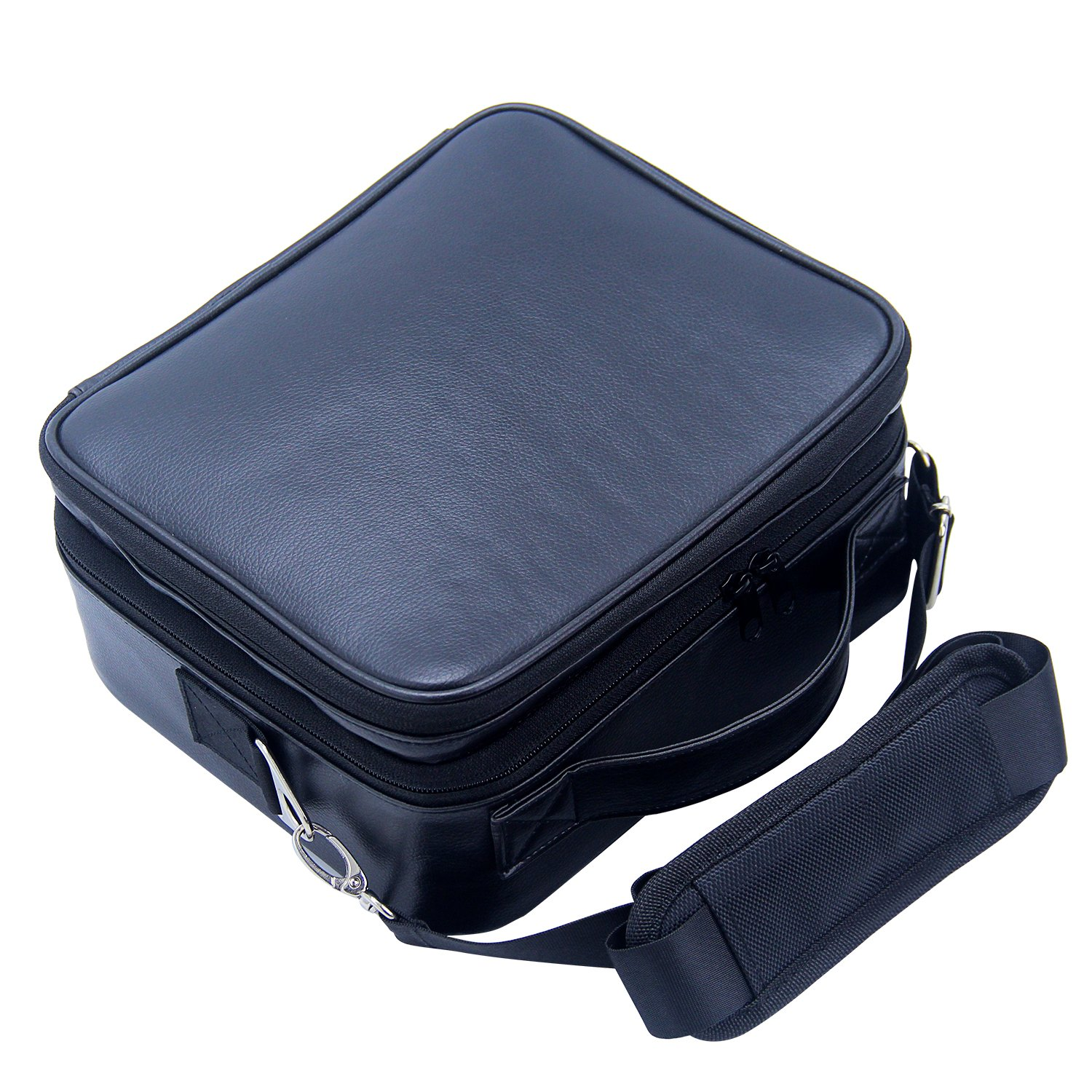 Travel Makeup Bag Makeup Train Case 2 Layer Premium PU Leather Cosmetic Makeup Brush Organizer with Mirror Portable Artist Storage Bag Toiletry Bag Perfect Gift (Black) by Relavel (Image #6)