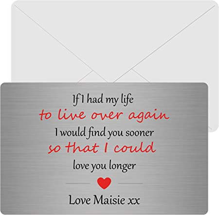 Sentimental  Metal Wallet Card keepsake Boyfriend//Girlfriend