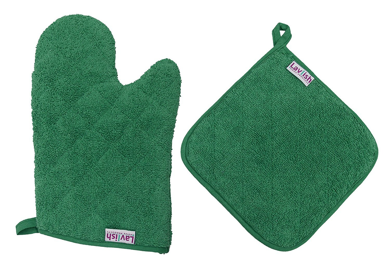 Lavlish Oven Mitt & Pot Holder Set 100% Cotton, Green