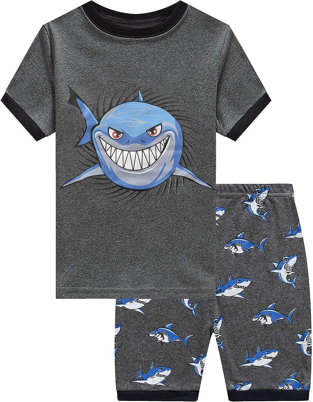 Toddler Boys Pajamas Monster Truck 100% Cotton Kids Summer Short Sets Sleepwear Clothes Set for 1-7 T