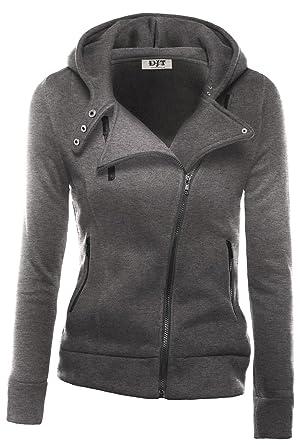 DJT Womens Casual Oblique Zipper Hoodie Jacket Coat at Amazon