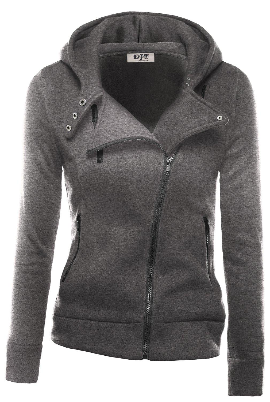 DJT Womens Casual Oblique Zipper Hoodie Jacket Coat Small Dark Grey