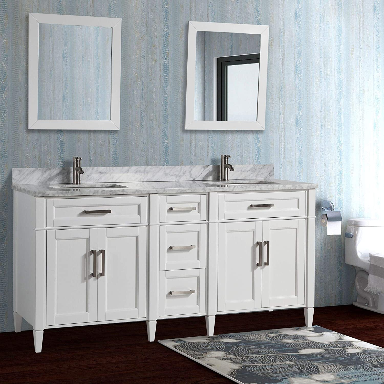 Carrara Marble Stone Soft Closing Doors Undermount Rectangle Sinks With Free Two Mirror Va2072 Dw Vanity Art 72 Inch Double Sink Bathroom Vanity Set Tools Home Improvement Kitchen Bath Fixtures Fcteutonia05 De