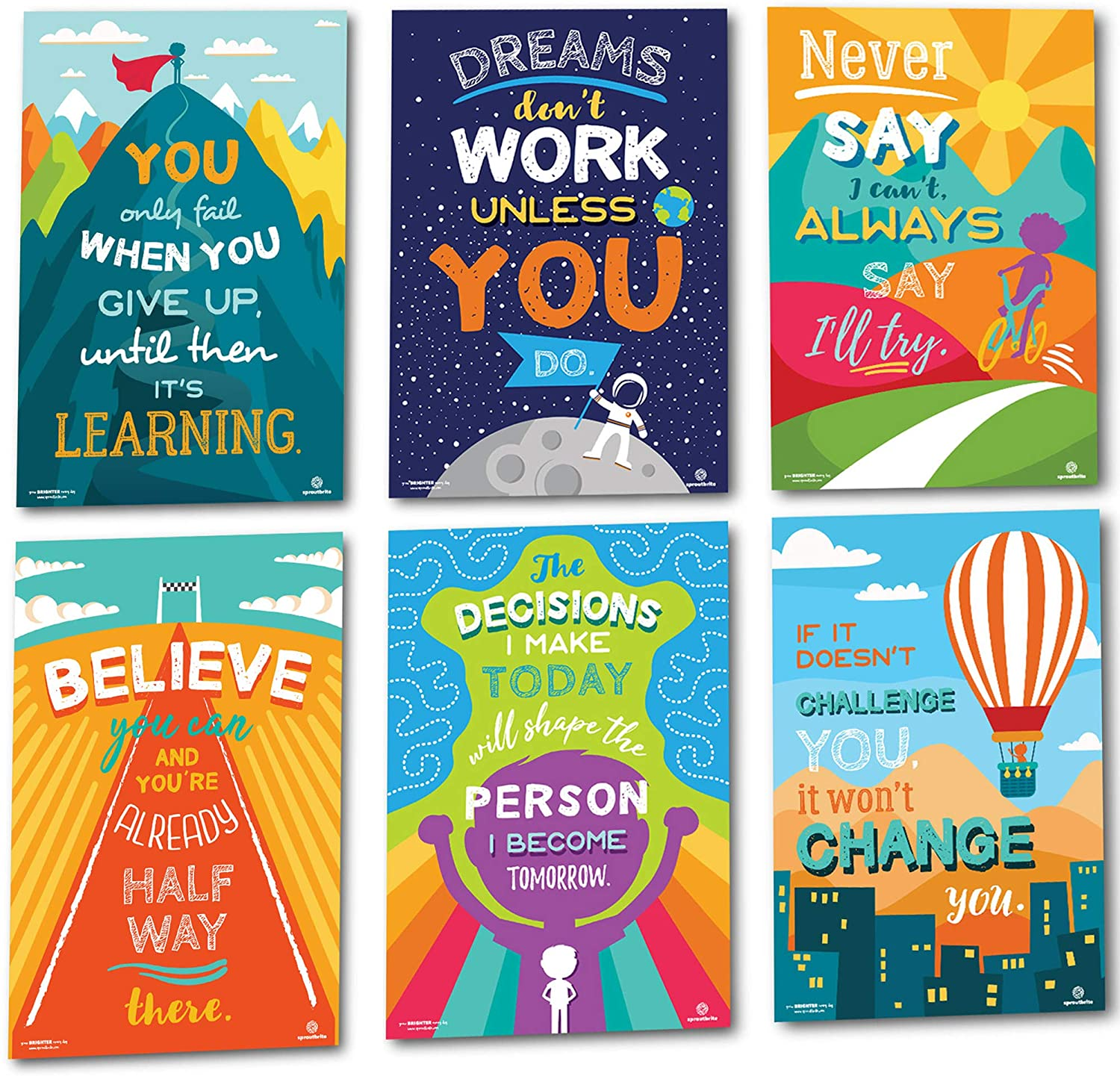 Sproutbrite Classroom Decorations - Motivational Posters - Educational and Inspirational Growth Mindset for Teacher and Students