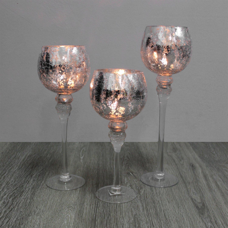 Silber Glaskelch Windlicht Kerzenständer Gläser Set H40//35//30cm Bordeaux 3tlg