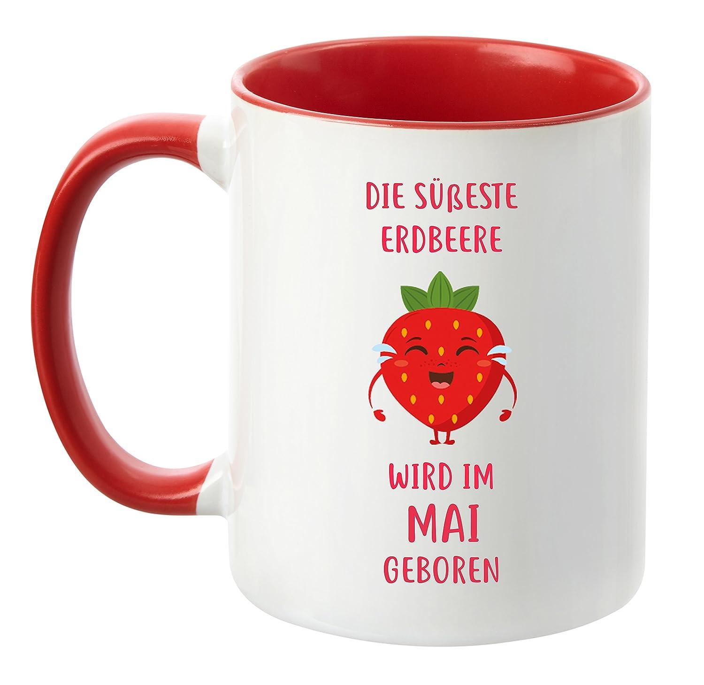 Die s/ü/ßeste Erdbeere Wird im April geboren April Rot Geburtstag-Tasse hochwertige Freundin TassenTicker/® Schwester