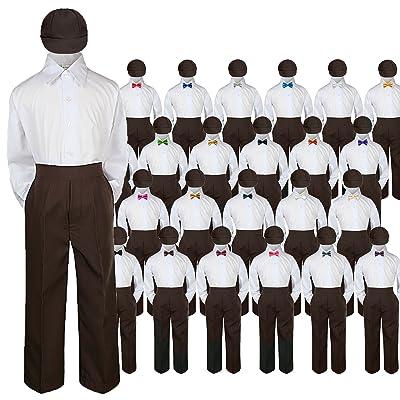 4pc Baby Toddler Kid Boy Wedding Suit BROWN Pants Shirt Bow tie Hat Set 5-7