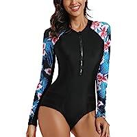 LafyKoly Women's Rashguard Long Sleeve UV Protection One Piece Surfing Swimsuit Short Sleeve Swimwear Bathing Suits