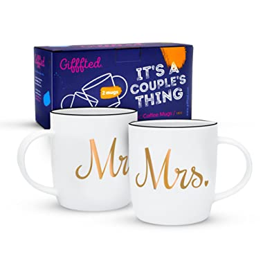 Gifffted Mr and Mrs Coffee Mugs Set, Funny His and Hers Couple Marriage Wedding Year Anniversary Gifts, Engagement Gift Ideas For Newlywed Engaged Couples Unique, Parents Presents Day, 2 Cups Set V2