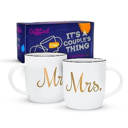 Gifffted Mr Y Mrs Parejas Aniversario De Tazas Para El Y Ella