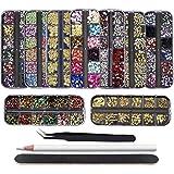 EBANKU 9 cajas de diamantes de imitación para decoración de uñas, diamantes con purpurina dorada, piedras de decoración…