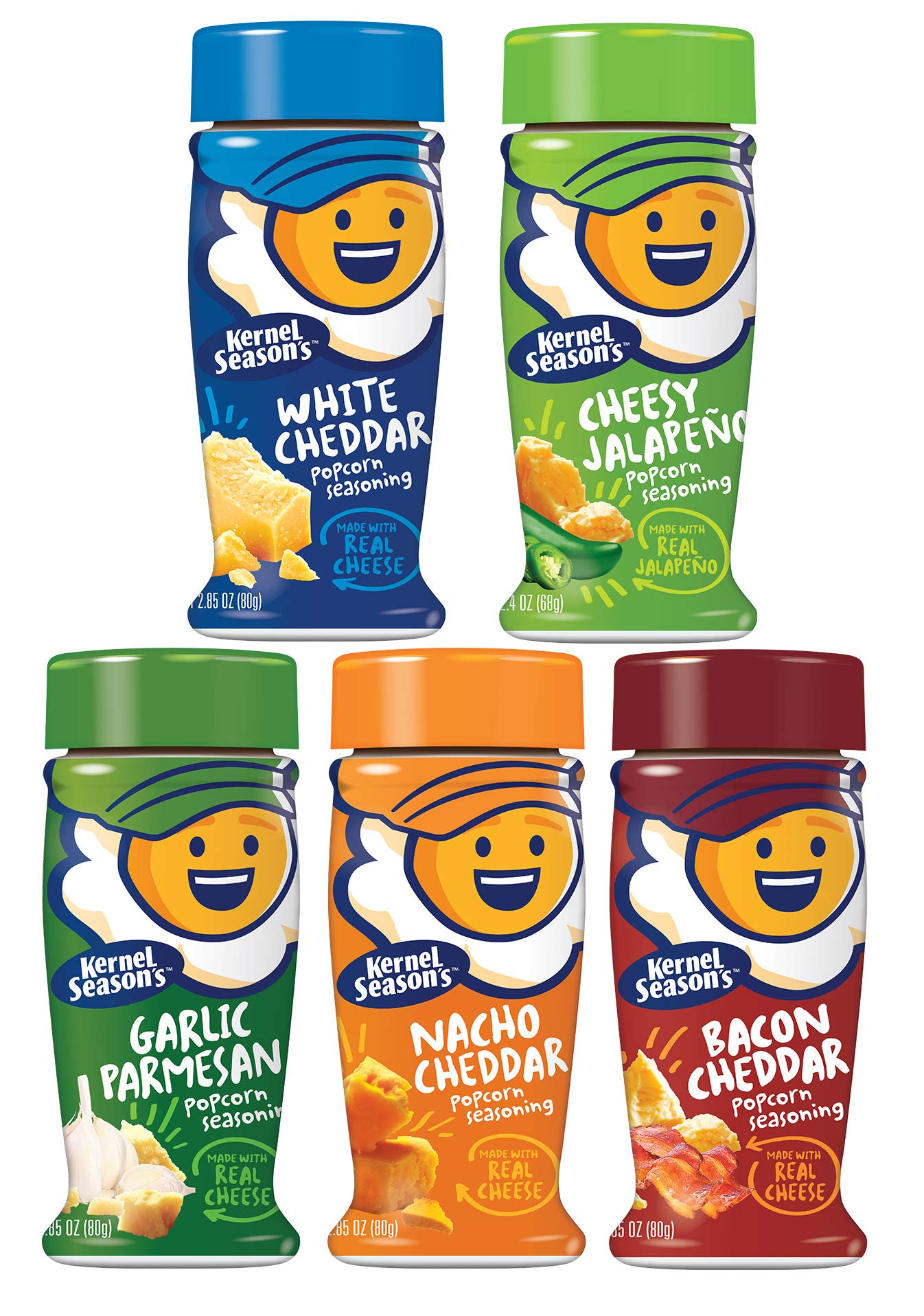 Kernel Seasons Popcorn Seasoning Kit CHEESE LOVERS Complete Set (Variety Pack of 5 Different Cheesy Flavors) by Kernel Season's