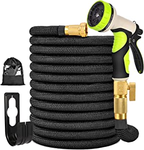 TOCZIM 50FT Expandable Garden Hose - Flexible Hose with Extra Strength Fabric 4-Layers Latex 3/4