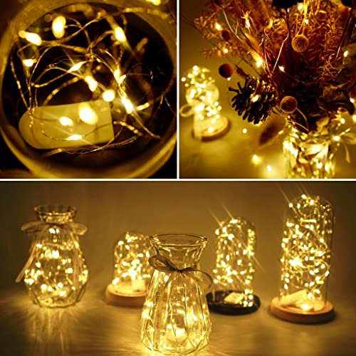20 Packs Fairy String Lights, 6.6FT 20 LEDs Battery Operated Silver Copper Wire Starry String Light for DIY Party Christmas Costume Wedding Easter Table Decorations Warm White
