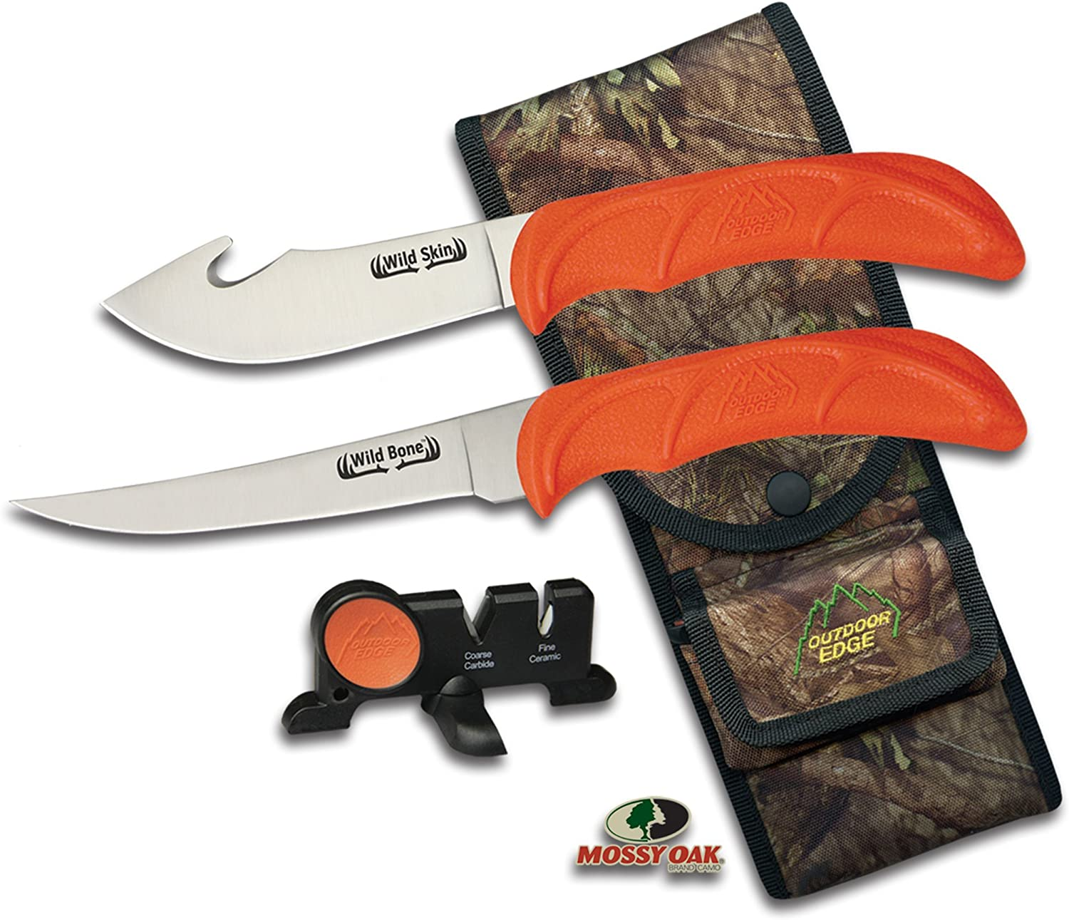 Outdoor Edge WildBone, 4-Piece Field to Freezer Hunting & Game Processing Knife Set with Gut-Hook Skinner, Boning/Fillet Knife, Carbine/Ceramic Sharpener and Mossy Oak Camo Belt Scabbard