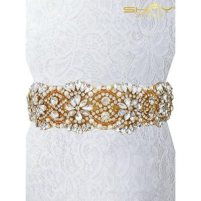 Shinybeauty Strass Cristal Applique Applique, strass Trim Sash Ceinture  Mariage Sash pour femme Ra310, doré, 5.5cmx45cm 539855778c0