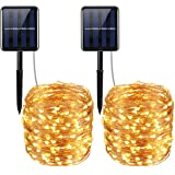 Criacr Solar Powered String Lights, (200 LED, 8 Modes) Starry Fairy Lights, 72 ft/20m Solar Fairy String Lights, Outdoor solar lights for Christmas, Patio, Garden, Wedding (Warm White - Pack of 2)