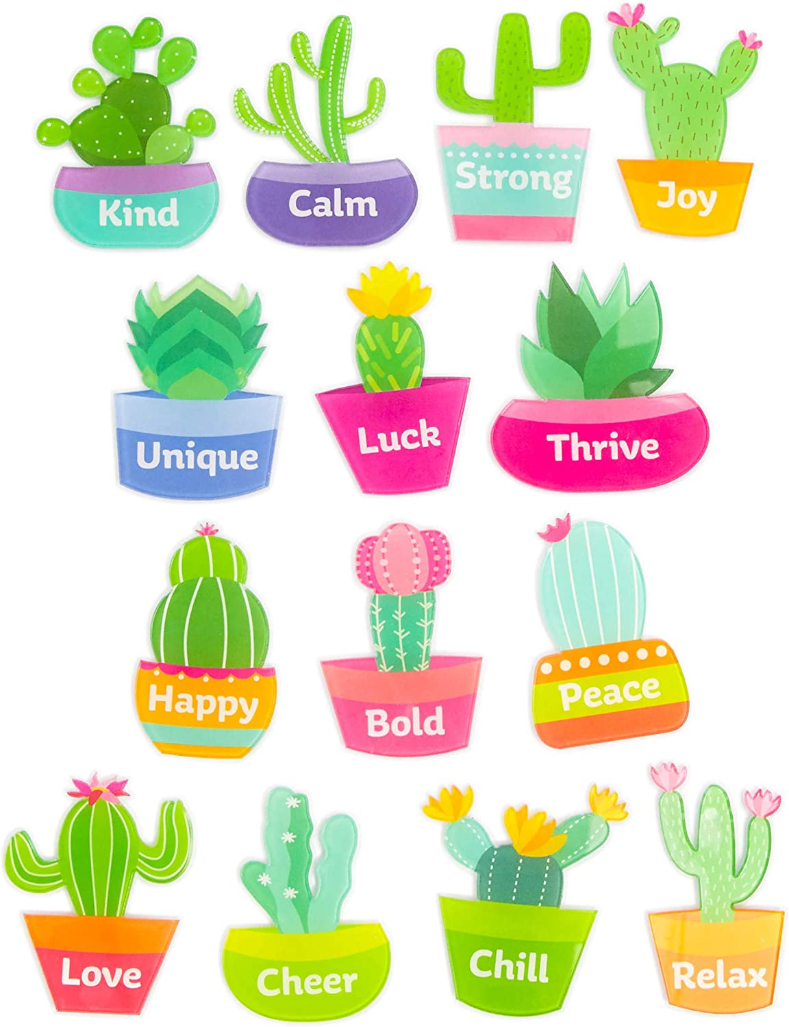 Paper Junkie Acrylic Printed Cactus Magnets (14 Pack)