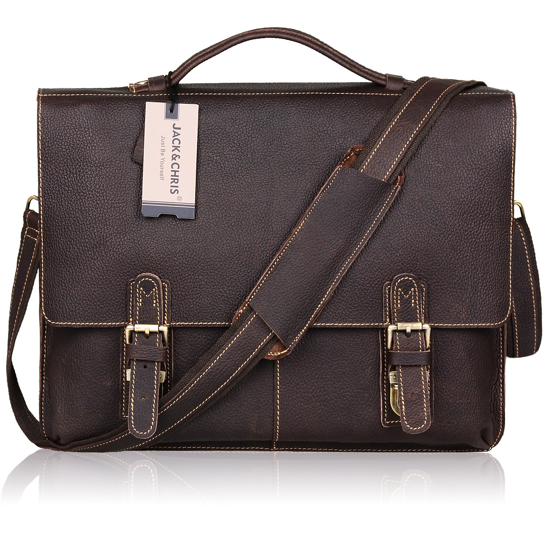 Jack&Chris NEW ARRIVAL Leather Briefcase Twin Buckle Men's Messenger Bag, Dark Brown, MB002B