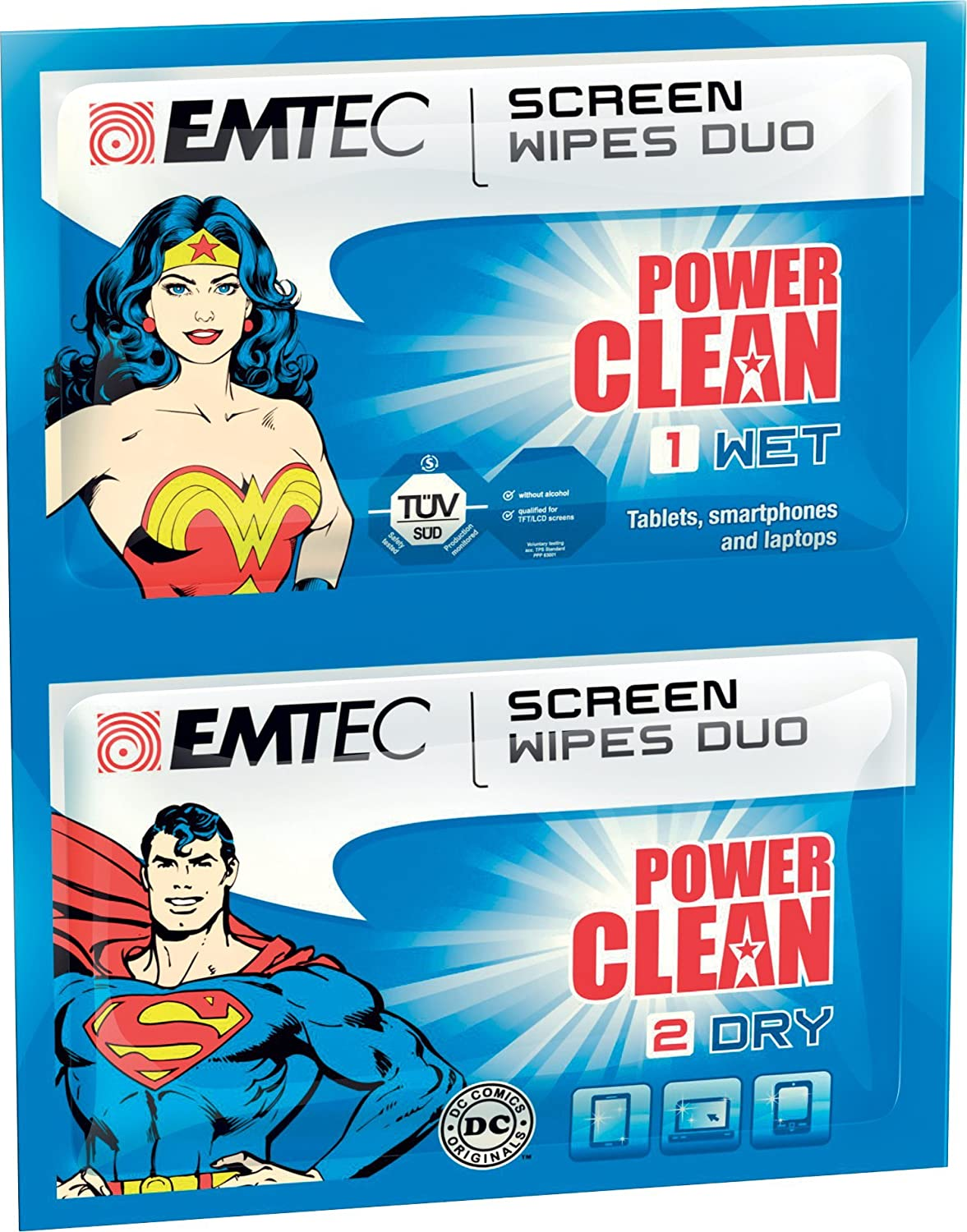 EMTEC Power Clean Wet and Dry Wipes Duo