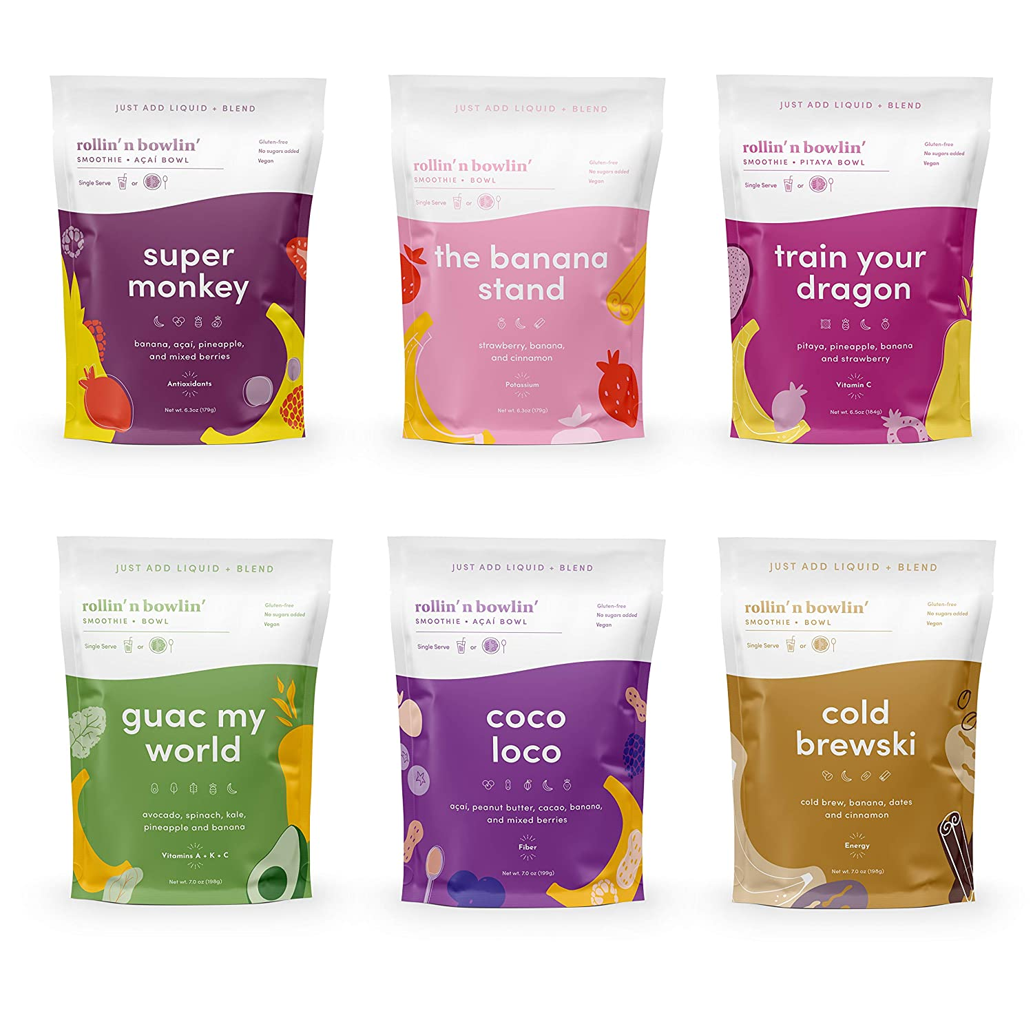 Rollin' n Bowlin' Smoothie Mix  (Variety Pack of 6) Fan Favorites   6 Different Flavors, All Natural Frozen Fruit and Vegetables   Vegan, GMO-Free, No Sugars Added   Healthy Snack