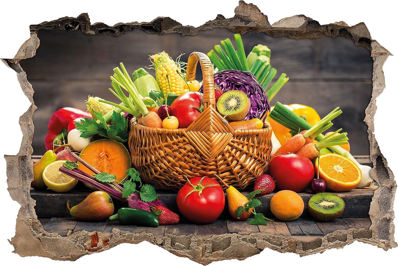 Les fruits et légumes dans le panier percée de mur en 3D look, mur ou format vignette de la porte: 62x42cm, stickers muraux, sticker mural, décoration murale Stil.Zeit