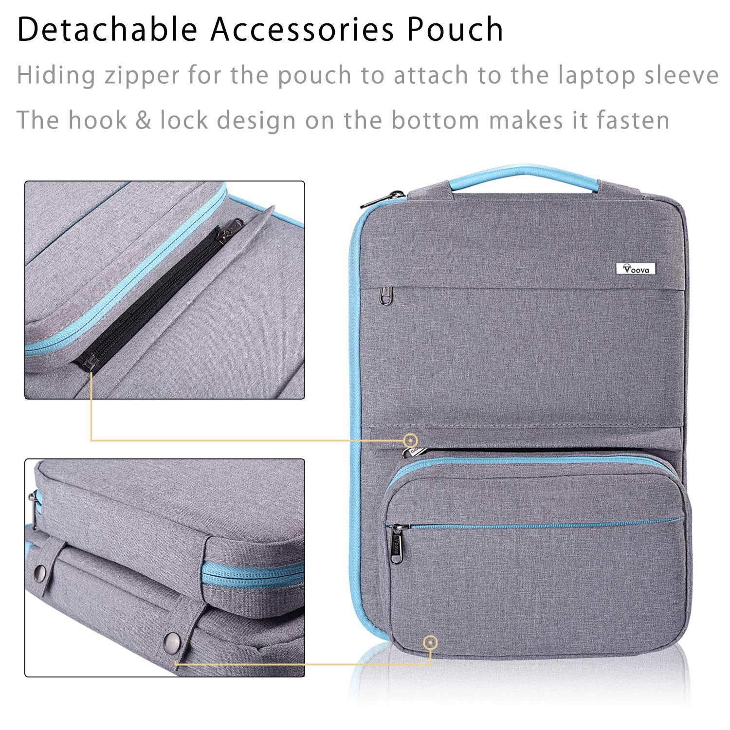 Acer HP Asus Voova 14-15.6 Inch Laptop Sleeve Bag Cover Special Design Waterproof Computer Protective Carry Case with Detachable Accessory Pocket Compatible with MacBook Pro Retina 15 Dark Gray