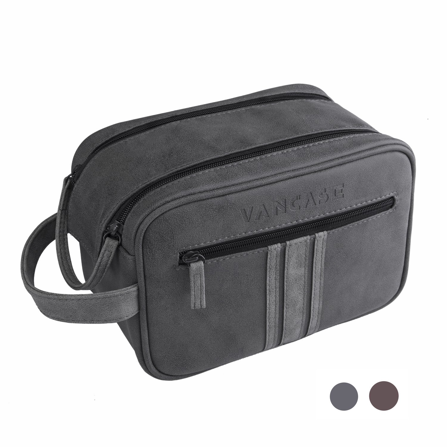 Travel Toiletry Bag for Men, Vancase Vintage Leather Dopp Kit, Large Waterproof Shaving bags, Portable Bathroom Organizer with Connected Zipper Puller (Dark Gray)