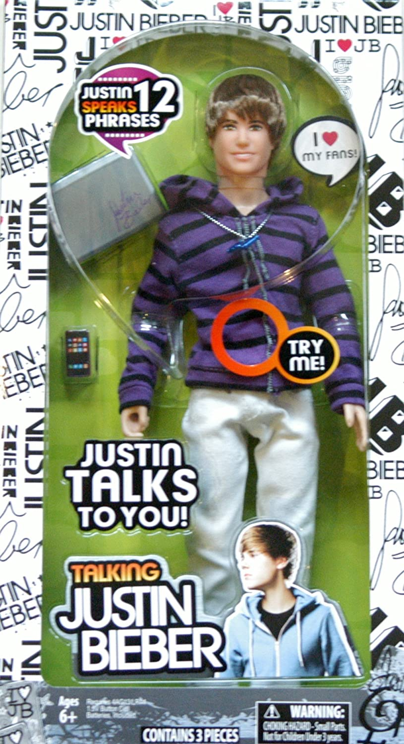 Justin Bieber doll speaks 12 phrases (Englisch sprechende Puppe)