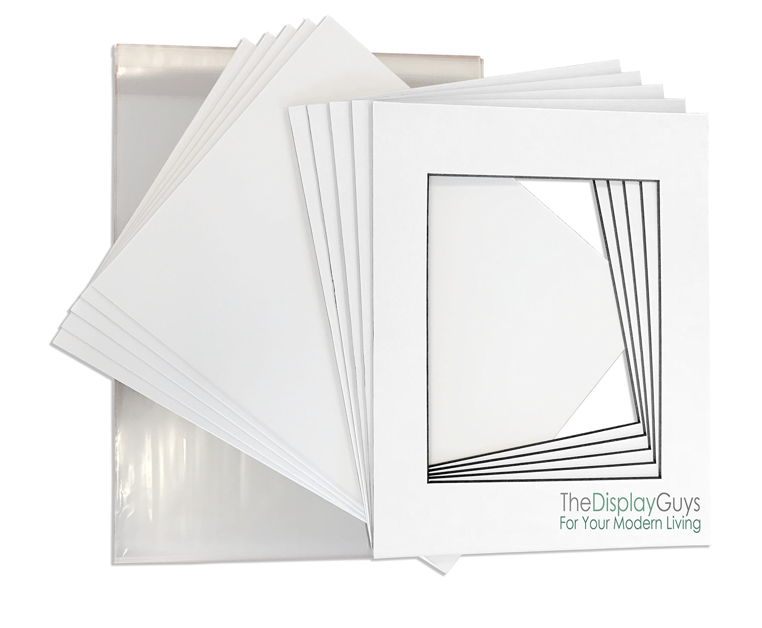 THE DISPLAY GUYS Professional 11x14 Pack of 25 Deluxe White w/Black Core Picture Photo Matting Mat Boards + Backing Boards + Clear Plastic Bags Complete Set