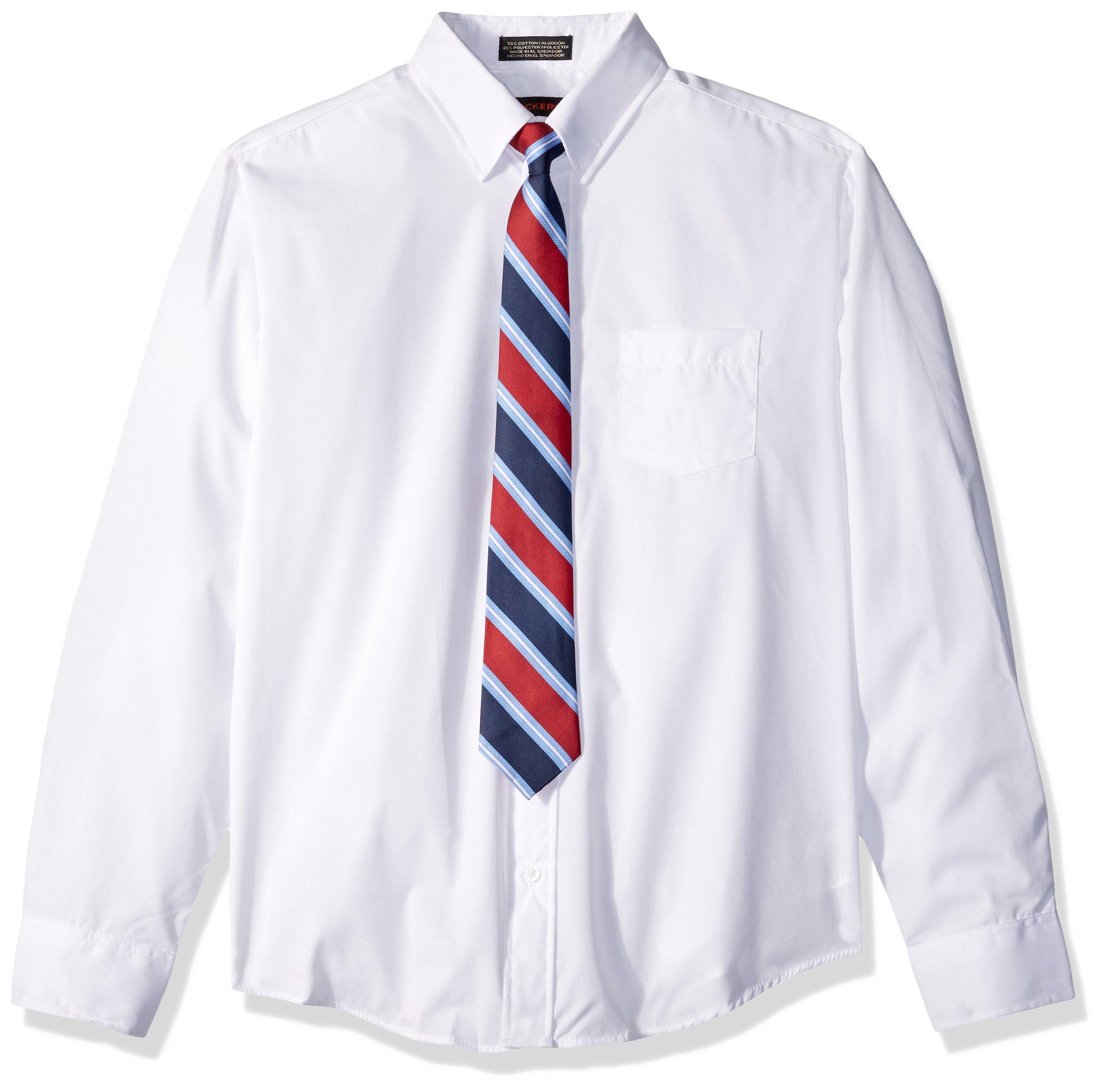 Dockers Big Boys' Dress Shirt and Tie Set, New White, 10