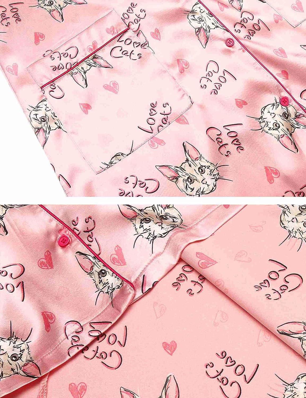 Ekouaer Womens Silky Satin Pajamas Cat Nightshirts Printed Button Down Nightgown Pajama Shirt Dress