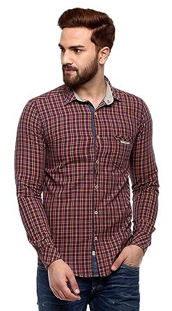 91c3504d862 SPEAK Mens Indigo Denim Checks Shirt  Amazon.in  Clothing   Accessories