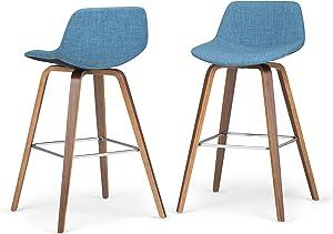SIMPLIHOME Randolph Mid Century Modern Bentwood Counter Height Stool (Set of 2) in Medium Blue Linen Look Fabric