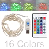 16ft LED USB String Lights 16 Colors Multi Color Changing Copper Wire String Lights with Remote Control Waterproof Decorative Lights for Bedroom, Patio, Garden, Gate, Parties, Wedding, Christmas Tree