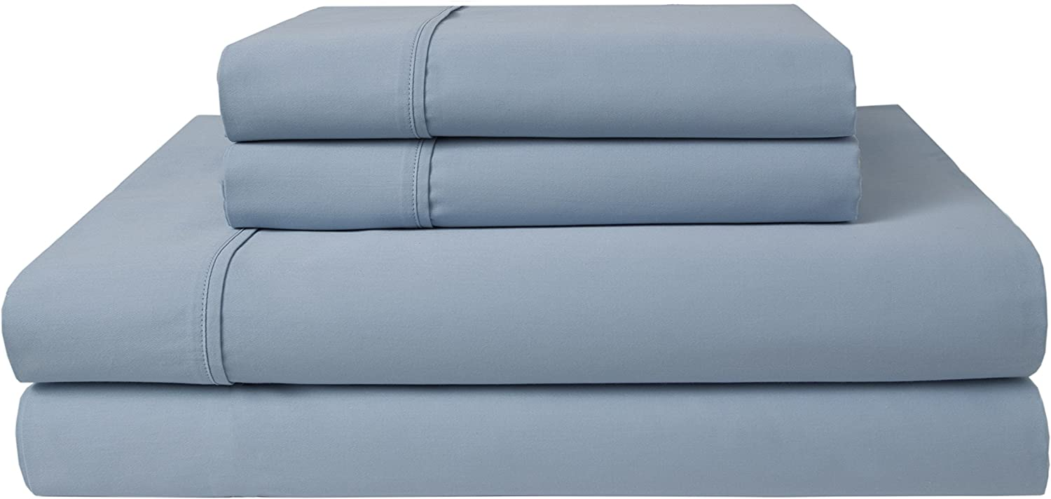 Elite Home Products 300 Thread Count Organic Cotton Deep-Pocketed Sheet Set, Full, Ice Blue