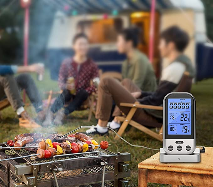 youtoo 2018 Versión mejorada Wireless Barbecue Grill Termómetro Termómetro Dual probemit 2 acero inoxidable Sensores de temperatura temporizador y gran ...