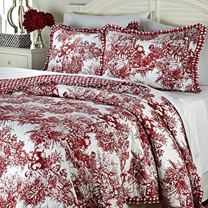 CLEVER CARRIAGE Red FRENCH TOILE Country KING QUILT U0026 SHAMS SET