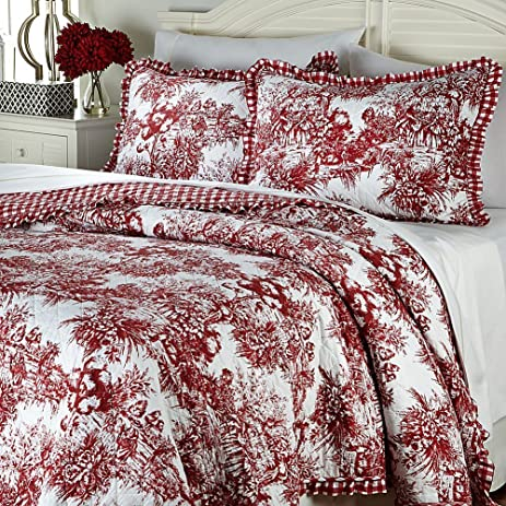 Amazon.com: CLEVER CARRIAGE Red FRENCH TOILE Country 6PC FULL ... : country carriage quilts - Adamdwight.com