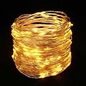 YULETIME Fairy String Lights with Adapter, 66 Ft 200 LEDs Waterproof Starry Copper Wire Lights, Home Decor Firefly Lights for Garden Backyard Christmas Tree (Warm White, Silvery Wire)