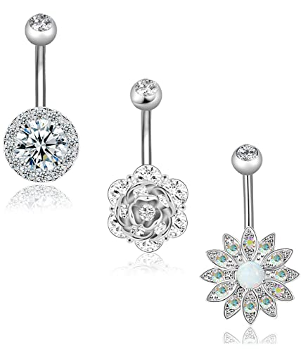 Amazon Com Revolia 3pcs 14g Stainless Steel Belly Button Rings For