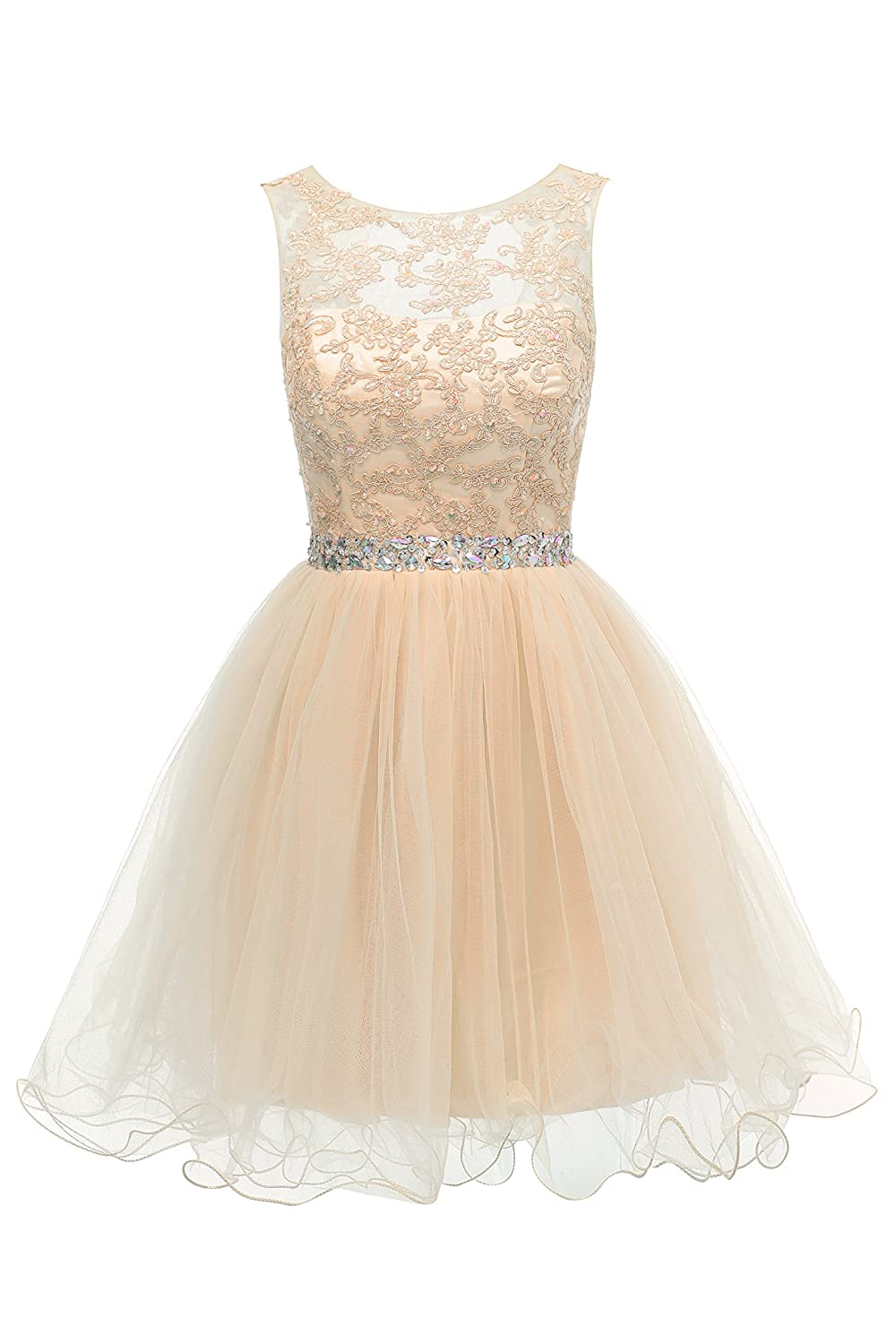 Champagne HEIMO Women's Lace Beaded Homecoming Dresses Short Sequined Appliques Prom Gowns H122