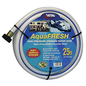 "Valterra W01-6300 AquaFresh High Pressure Drinking Water Hose - 5/8"" x 25', White"