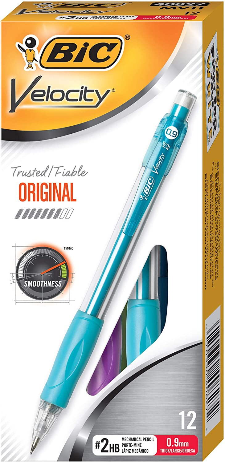 BIC Velocity Original Mechanical Pencil, Thick Point (0.9mm), 12-Count