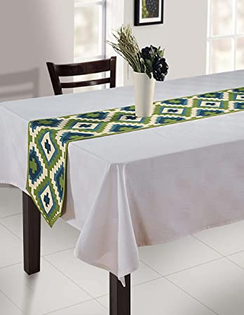 ShalinIndia Indian Duck Cotton Table Runner - 13 x 36 Inches - Blue & White Geometric Print